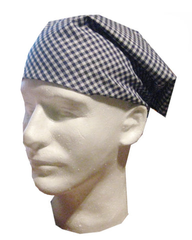 Adjustable Chef Head Wrap with Blue Plaids Design - Fashion Designz Uniforms