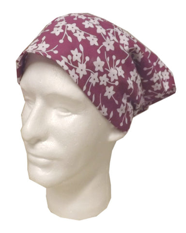 Adjustable Restaurant Server Head Wrap Flowers on purple - Fashion Designz Uniforms