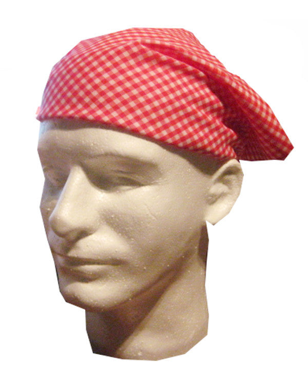 Adjustable Restaurant Server Head Wrap Red Plaid - Fashion Designz Uniforms
