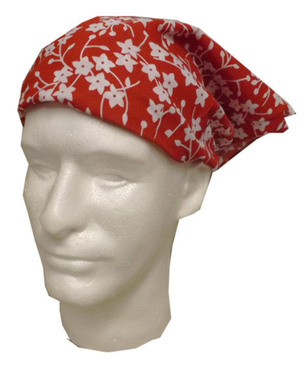 Adjustable Restaurant Server Head Wrap Flowers on Red - Fashion Designz Uniforms