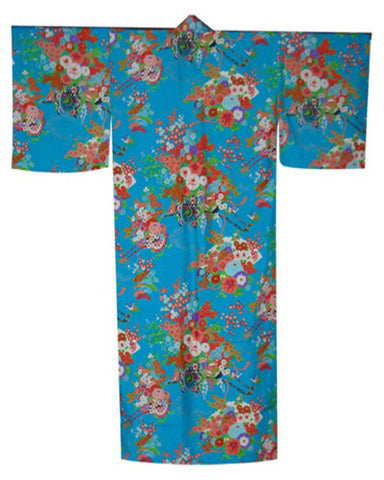 Traditional Japanese Kimono Flower Cart in turquoise background - Fashion Designz Uniforms