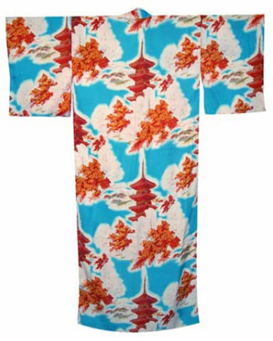 Japanese Kimono Pagoda and Maple Tree in Turquoise color - Fashion Designz Uniforms
