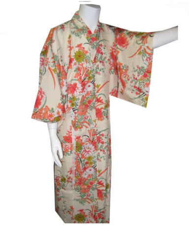 Traditional Japanese Kimono Flowers on Cream color - Fashion Designz Uniforms