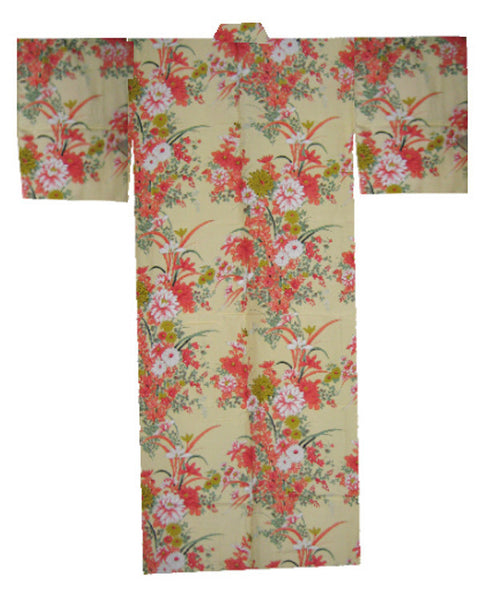 Japanese Kimono with flowers in Yellow - Fashion Designz Uniforms