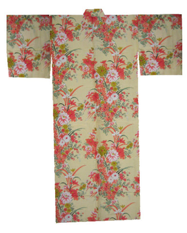 Japanese Kimono with flowers in Yellow