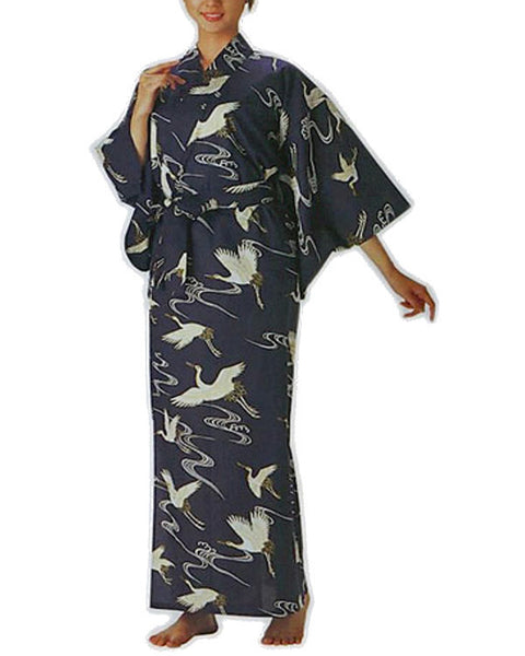 Japanese Kimono with Crane Design - Fashion Designz Uniforms