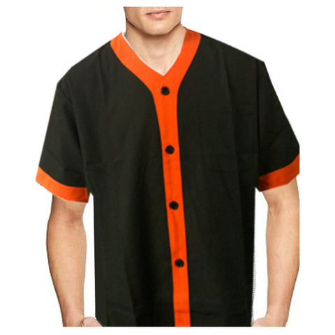 V neck chef shirt Width orange contrast piping on black - Fashion Designz Uniforms