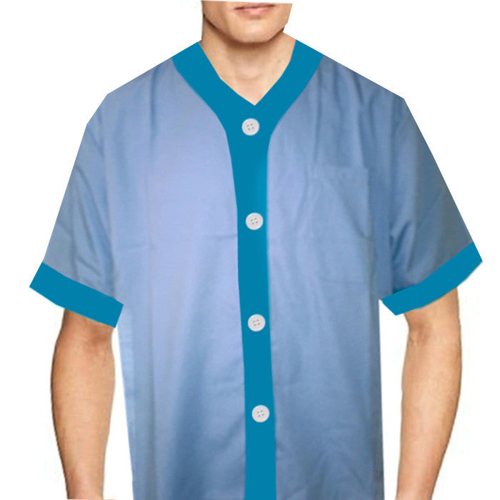 V neck chef shirt Light Blue with width blue color trim - Fashion Designz Uniforms