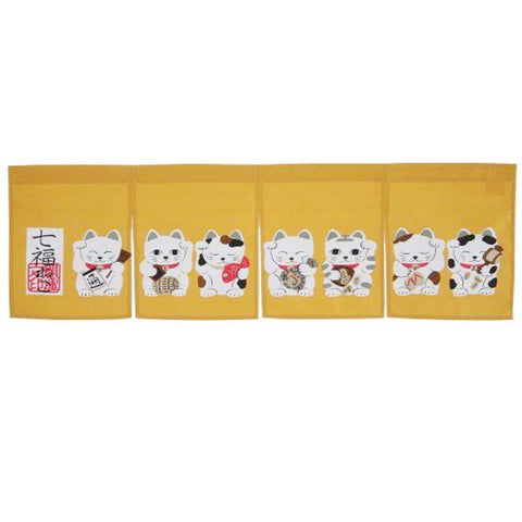 7 Lucky Cat Japanese Sushi Bar Decoration Curtain - Fashion Designz Uniforms