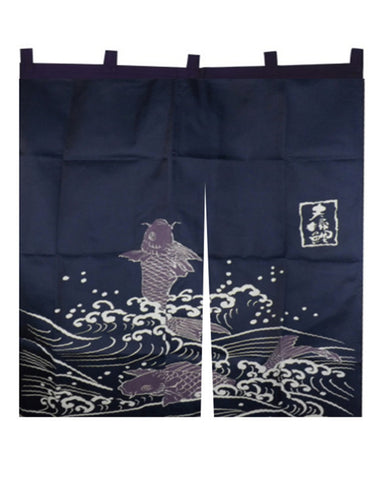 Japanese Restaurant Doorway Curtain Dark Blue with Koi Fish - Fashion Designz Uniforms