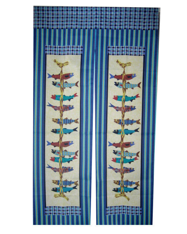 Japanese Restaurant Doorway Curtain Fishes - Fashion Designz Uniforms