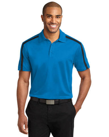 Mens Performance Colorblock Stripe Polo Brilliant Blue Color - Fashion Designz Uniforms