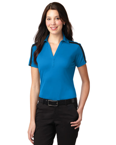 Ladies Performance Colorblock Stripe Polo Shirt Brilliant Blue - Fashion Designz Uniforms