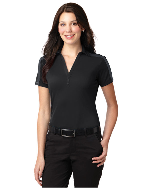 Ladies Performance Colorblock Stripe Polo Shirt Black Color - Fashion Designz Uniforms