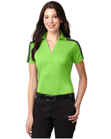 Ladies Performance Colorblock Stripe Polo Shirt Lime Color - Fashion Designz Uniforms