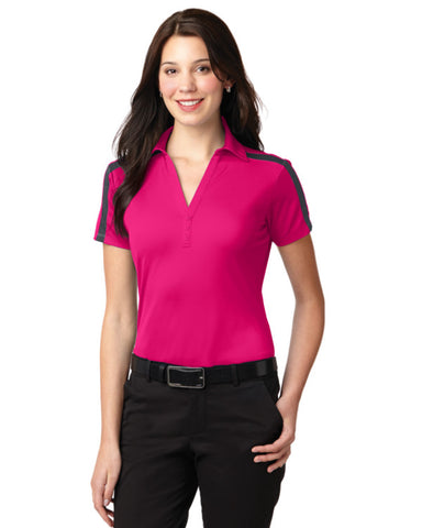 Ladies Performance Colorblock Stripe Polo Shirt Pink Raspberry - Fashion Designz Uniforms