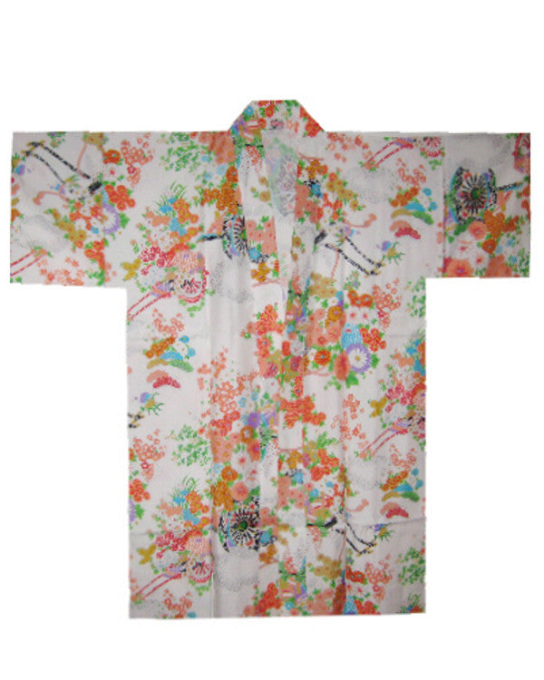 Women Japanese Style Short Kimono/Robe Flowers on white - Fashion Designz Uniforms