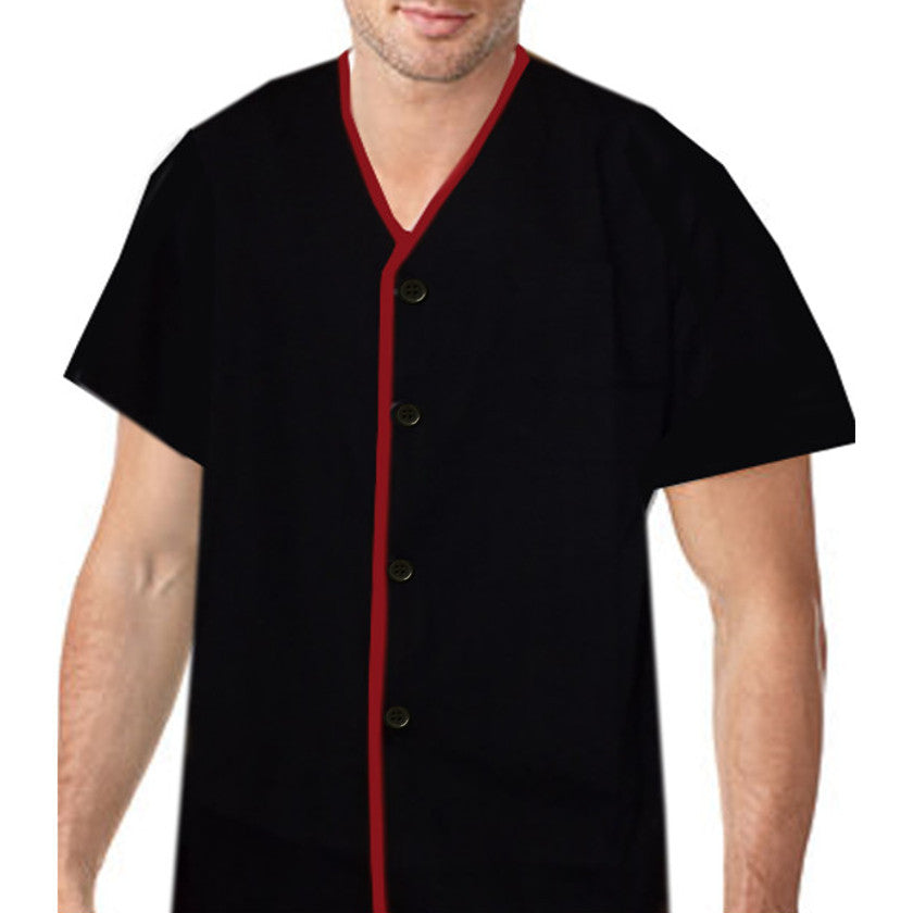 V neck sushi chef shirt Red contrast piping on black - Fashion Designz Uniforms