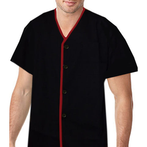 Restaurant Server V neck shirt Red contrast piping on black - Fashion Designz Uniforms