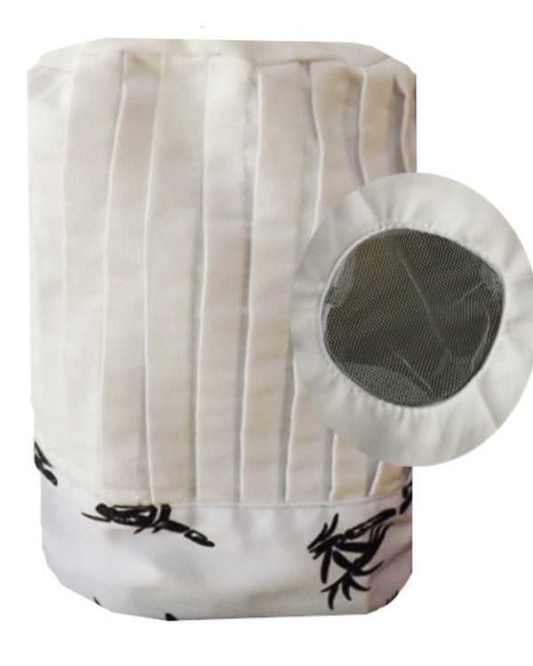 Hibachi Chef Tall Hat Bamboo prints on white with mesh top - Fashion Designz Uniforms