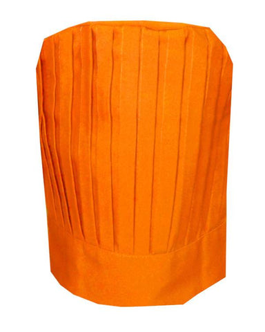 High Quality Fabric Chef Pleated Tall Hat Orange Color