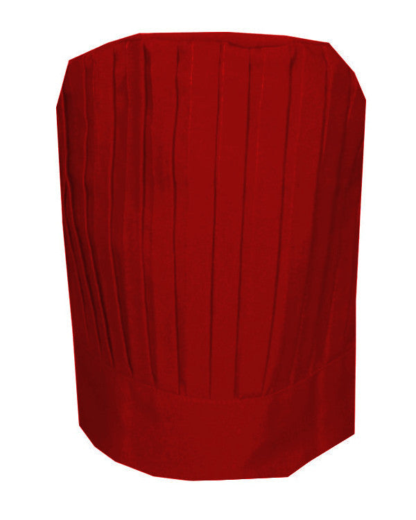 Solid Top Chef Pleated Tall Hat Red Color - Fashion Designz Uniforms
