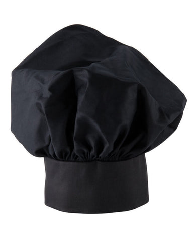 Chef Mushroom hat with Adjustable Velcro Black Color - Fashion Designz Uniforms