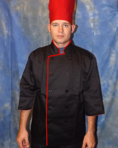 3/4 Sleeve Chef Coat Black with Red Contrast piping - Fashion Designz Uniforms