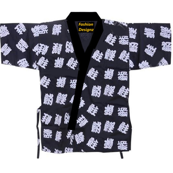 Traditional Sushi Chef Coat Japanese letter prints on dark blue - Fashion Designz Uniforms