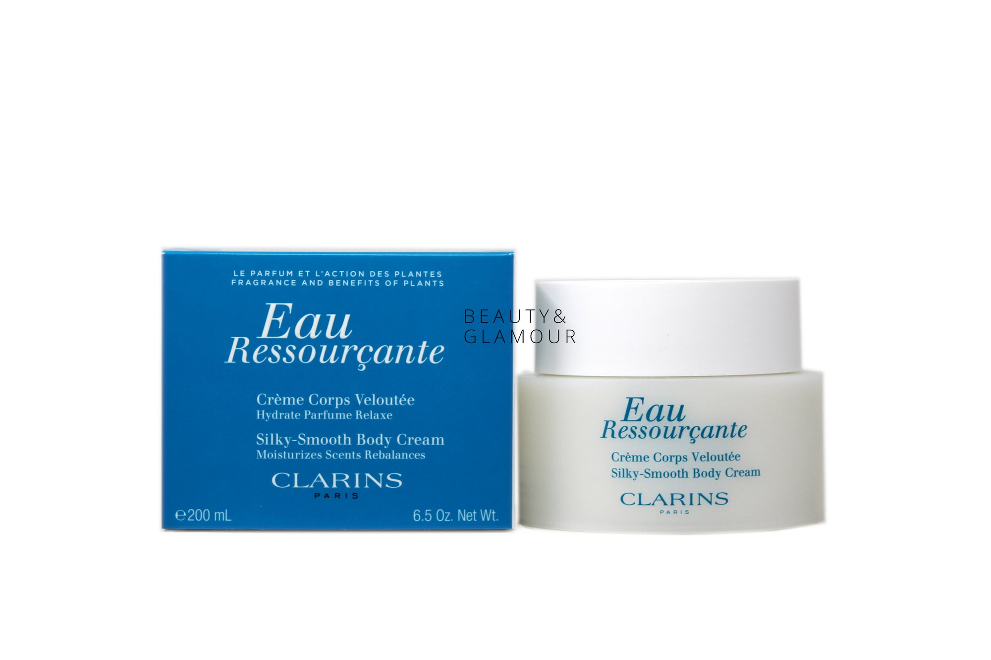 CLARINS EAU RESSOURCANTE SILKY - SMOOTH BODY CREAM  AVAILABLE SIZE: 200 ML/6.5 OZ.  SKIN TYPE: ALL SKIN TYPES  FORMULATION: CREAM  BENEFITS:  NOURISHES, SOFTENS, AND SOOTHES SKIN PERFUMES SKIN WITH A RELAXING, WOODY-FLORAL SCENT AROMATHERAPY PROPERTIES PROMOTE A FEELING OF CALM REFRESHING, MELTING TEXTURE GENTLE AND NON-PHOTOSENSITIZING