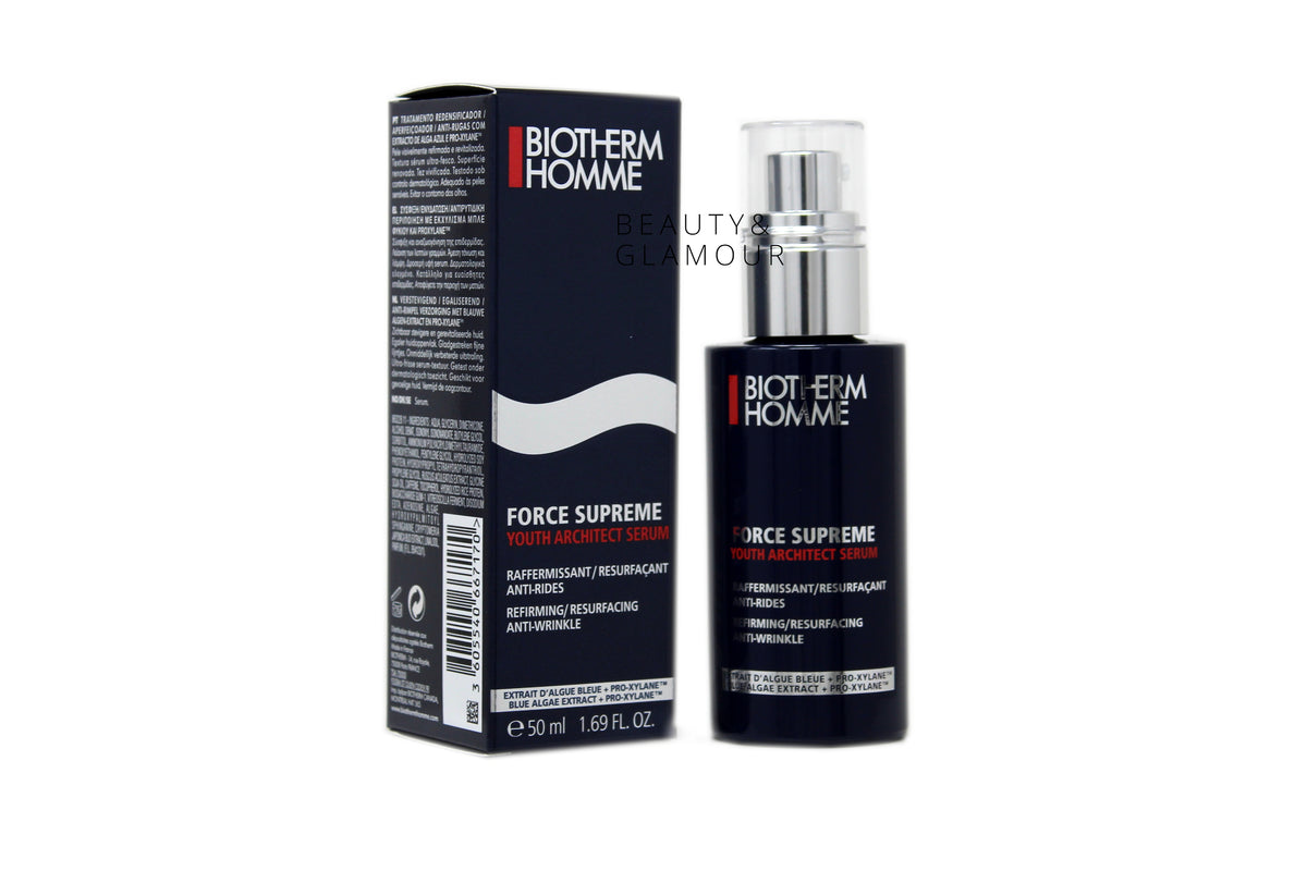 BIOTHERM HOMME FORCE SUPREME YOUTH  ARCHITECT SERUM  FOR ALL SKIN TYPES  AVAILABLE SIZE: 50 ML/1.69 FL.OZ.  MAIN PURPOSE: REFIRMING/ANTI-WRINKLE