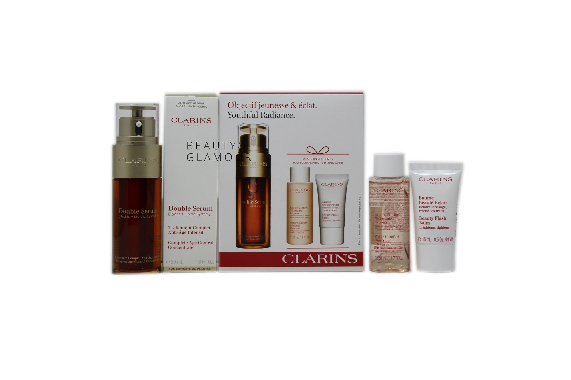 CLARINS DOUBLE SERUM 50ML WITH COMPLIMENTARY SKIN CARE