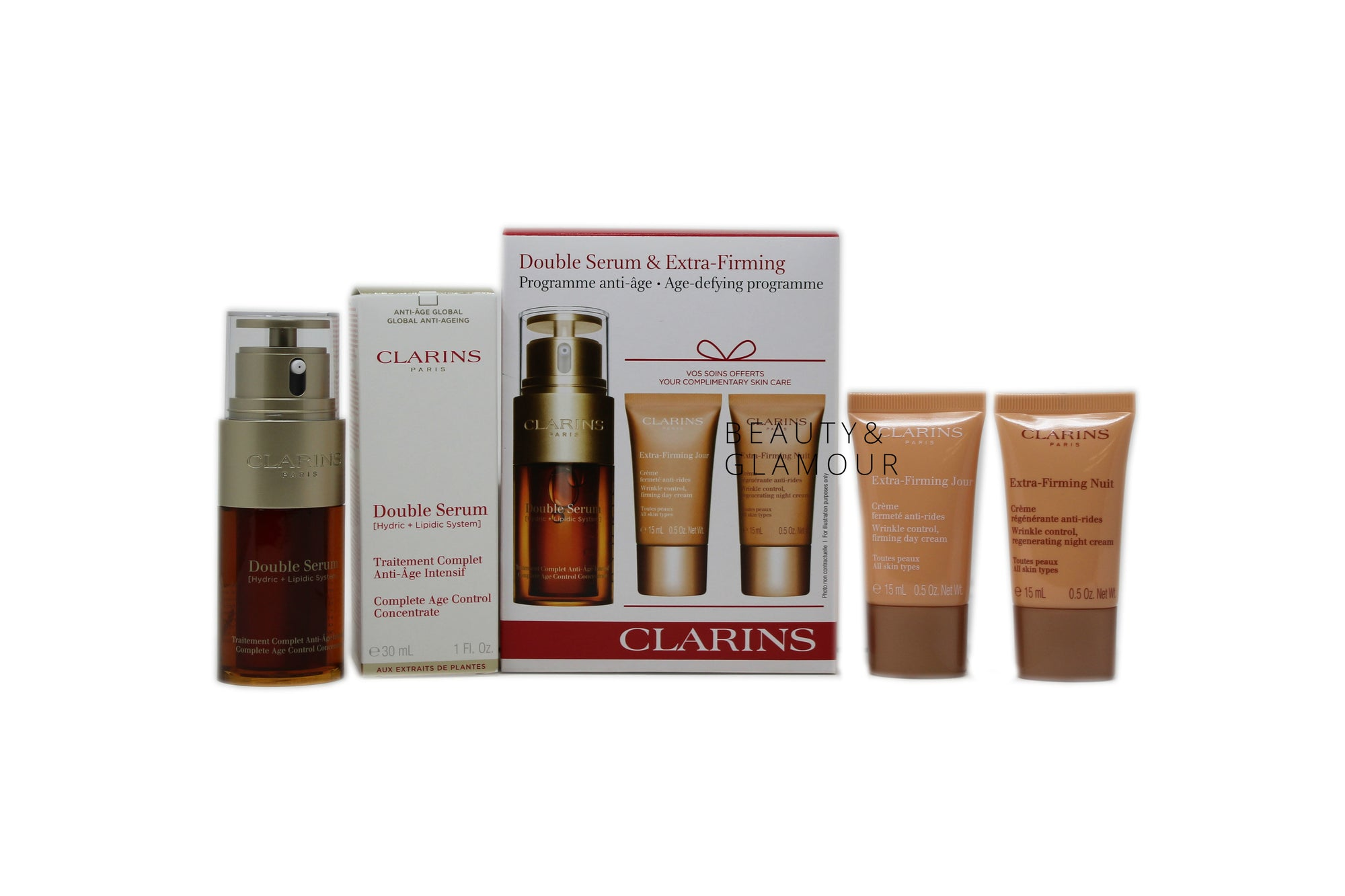 CLARINS DOUBLE SERUM (HYDRIC + LIPIDIC SYSTEM)  COMPLETE AGE CONTROL CONCENTRATE  AVAILABLE SIZE: 30 ML/1 FL.OZ.  BENEFITS:  VISIBLY REDUCES WRINKLES AND PROMOTES SKIN FIRMNESS REVIVES RADIANCE HYDRATES AND SMOOTHES VISIBLY TIGHTENS PORES YOUR COMPLIMENTARY SKIN CARE:  CLARINS EXTRA FIRMING JOUR WRINKLE CONTROL, FIRMING DAY CREAM ALL SKIN TYPES AVAILABLE SIZE: 15 ML/0.5 OZ. CLARINS EXTRA FIRMING NUIT WRINKLE CONTROL, REGENERATING NIGHT CREAM ALL SKIN TYPES AVAILABLE SIZE: 15 ML/0.5 OZ.