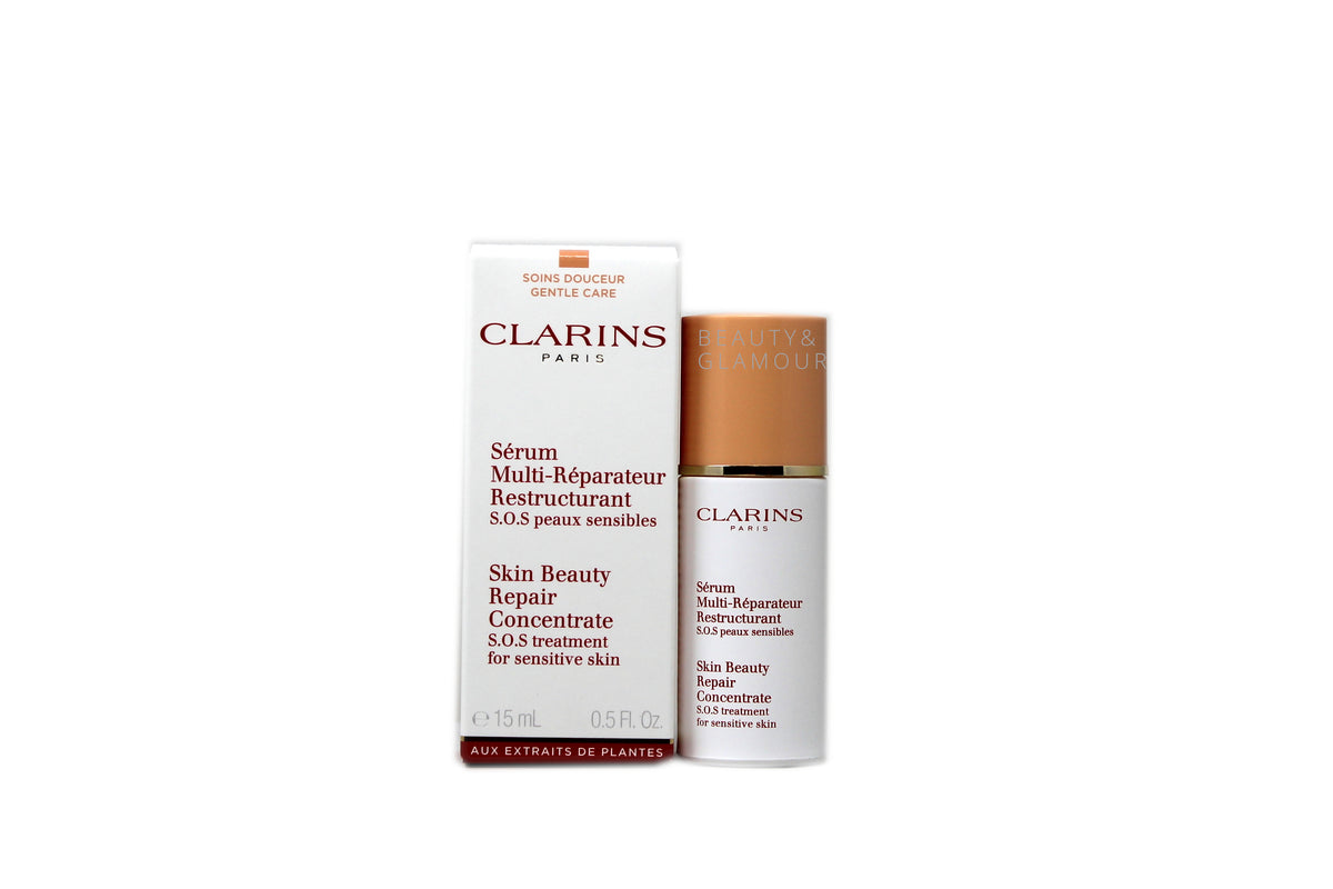 CLARINS SKIN BEAUTY REPAIR CONCENTRATE S.O.S TREATMENT FOR SENSITIVE SKIN AVAILABLE SIZE: 15 ML/0.5 FL.OZ.