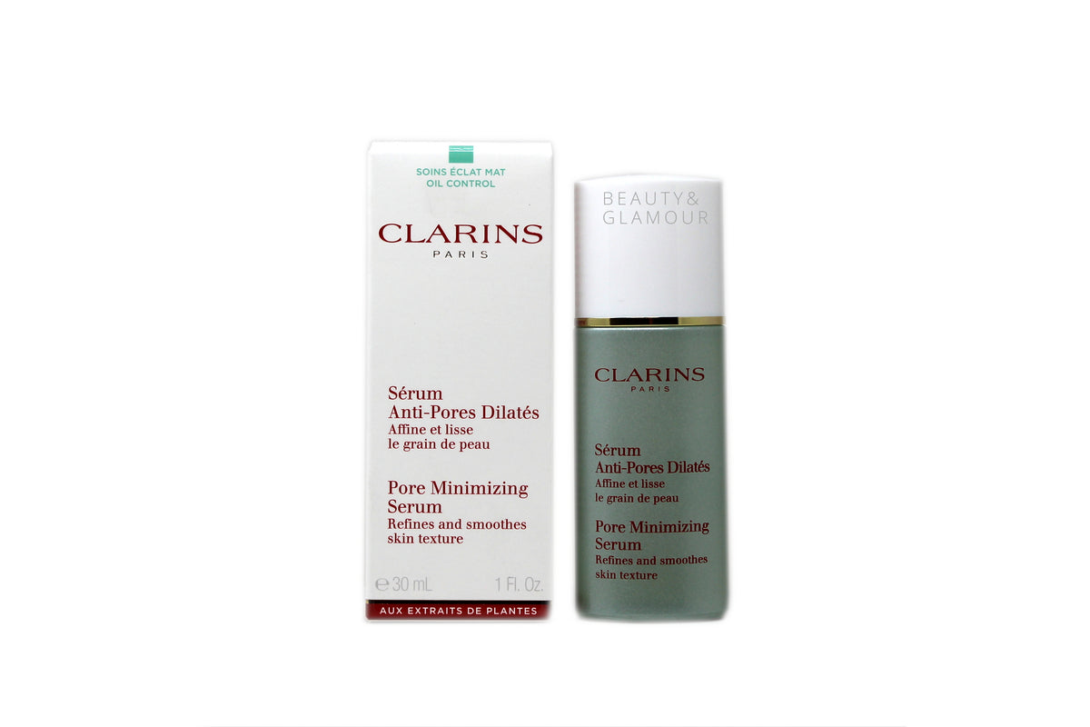 CLARINS PORE MINIMIZING SERUM REFINES AND SMOOTHES SKIN TEXTURE AVAILABLE SIZE: 30 ML/1 FL.OZ.