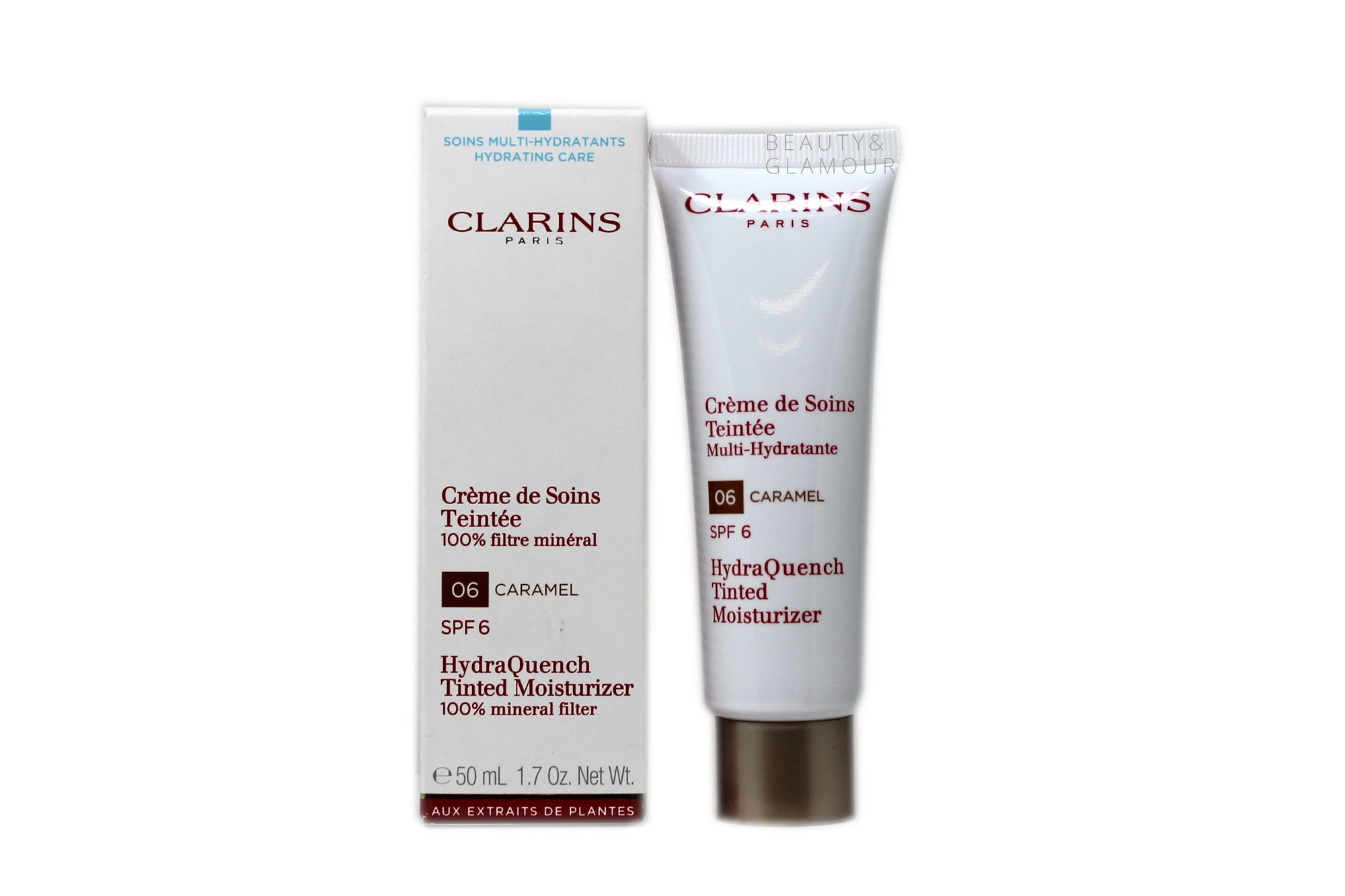 CLARINS HYDRAQUENCH TINTED MOISTURIZER  100% MINERAL FILTER  SPF-6  AVAILABLE SIZE: 50 ML/1.7 OZ.  SHADE:6-CARAMEL