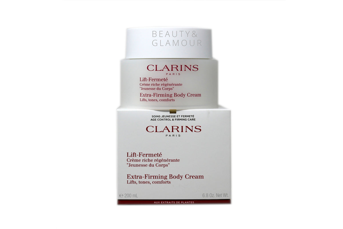 CLARINS EXTRA-FIRMING BODY CREAM  LIFTS, TONES, COMFORTS  AVAILABLE SIZE: 200 ML/6.8 OZ.