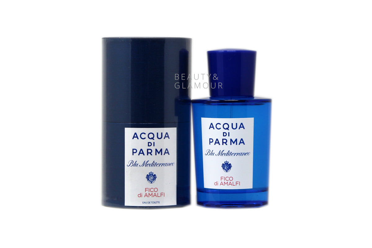 ACQUA DI PARMA BLU MEDITERRANEO FICO DI AMALFI  EAU DE TOILETTE SPRAY  AVAILABLE SIZE: 75 ML/2.5 FL.OZ.  FRAGRANCE NOTES OF FICO DI AMALFI  TOP NOTES: ITALIAN LEMON, ITALIAN BERGAMOT, GRAPEFRUIT HEART NOTES: FIG NECTAR, PINK PEPPER, JASMINE PETALS BASE NOTES: FIG WOOD, CEDARWOOD, BENZOIN
