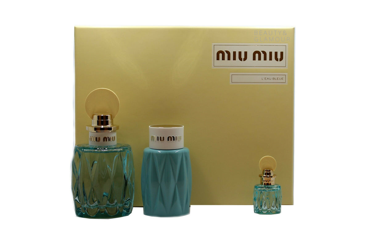 MIU MIU L'EAU BLEUE 3 PIECE GIFT SET WITH EAU DE PARFUM NATURAL SPRAY 100ML