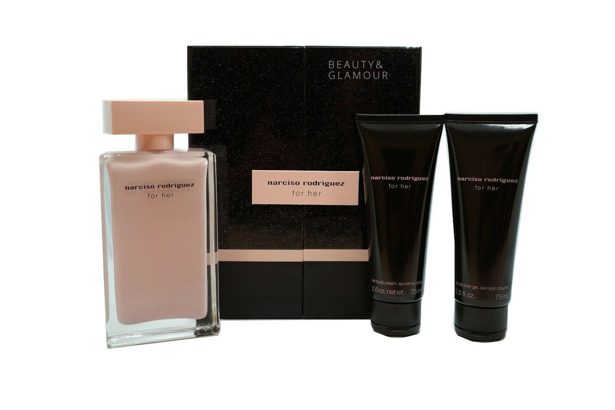 NARCISO RODRIGUEZ FOR HER 3PC GIFT SET EAU DE PARFUM SPRAY 100ML