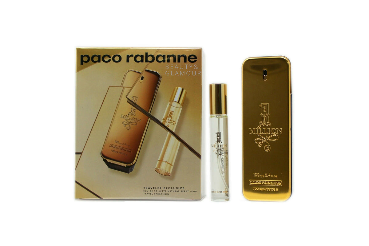 PACO RABANNE 1 MILLION 2 PIECE TRAVEL SET EAU DE TOILETTE SPRAY 100ML
