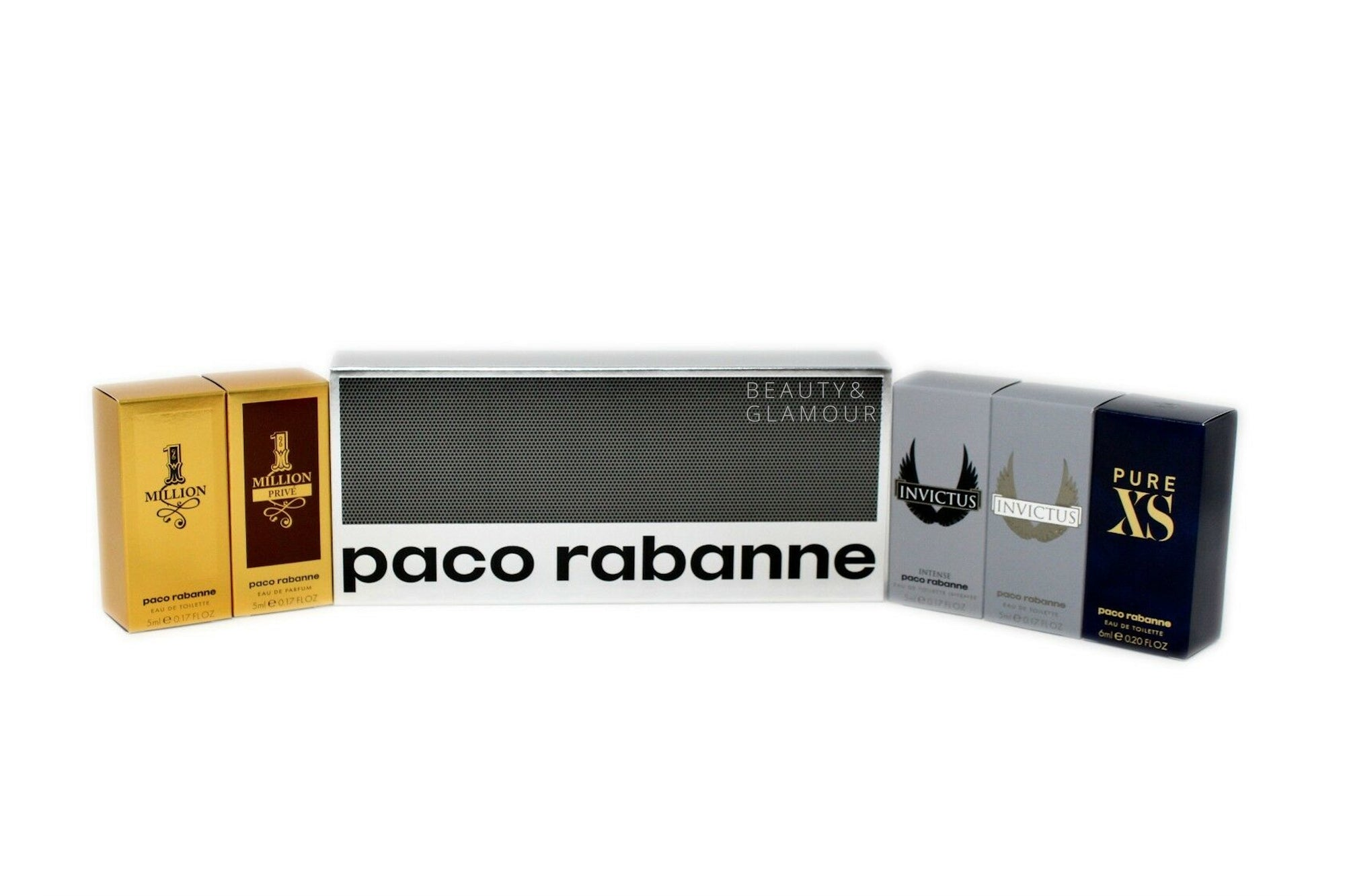 PACO RABANNE 1 MILLION EAU DE TOILETTE SPLASH 5 ML/0.17 FL.OZ.  PACO RABANNE 1 MILLION PRIVE EAU DE PARFUM SPLASH 5 ML/0.17 FL.OZ.  PACO RABANNE INVICTUS EAU DE TOILETTE SPLASH 5 ML/0.17 FL.OZ.  PACO RABANNE INVICTUS INTENSE EAU DE TOILETTE SPLASH 5 ML/0.17 FL.OZ. PACO RABANNE PURE XS EAU DE TOILETTE SPLASH 6 ML/0.20 FL.OZ.