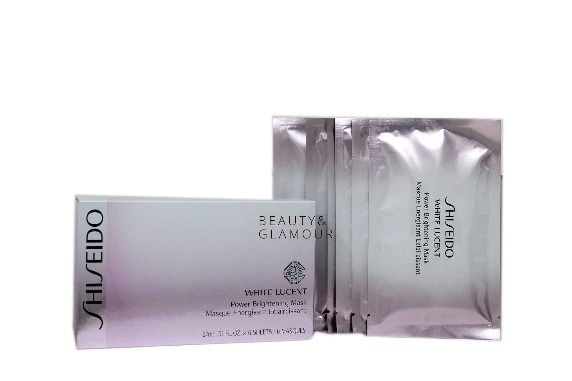 SHISEIDO WHITE LUCENT POWER BRIGHTENING MASK  AVAILABLE SIZE:6 SHEETS EACH 27 ML/0.91 FL.OZ.  CONCERNS: TARGET SPOTS AND DISCOLORATION.  BENEFITS:  SOOTHES DAMAGED SKIN WITH MOISTURE. MASK FITS AROUND FACIAL CONTOURS, SEALING IN THE MASK ESSENCE FOR AN OPTIMAL BRIGHTENING EFFECT.