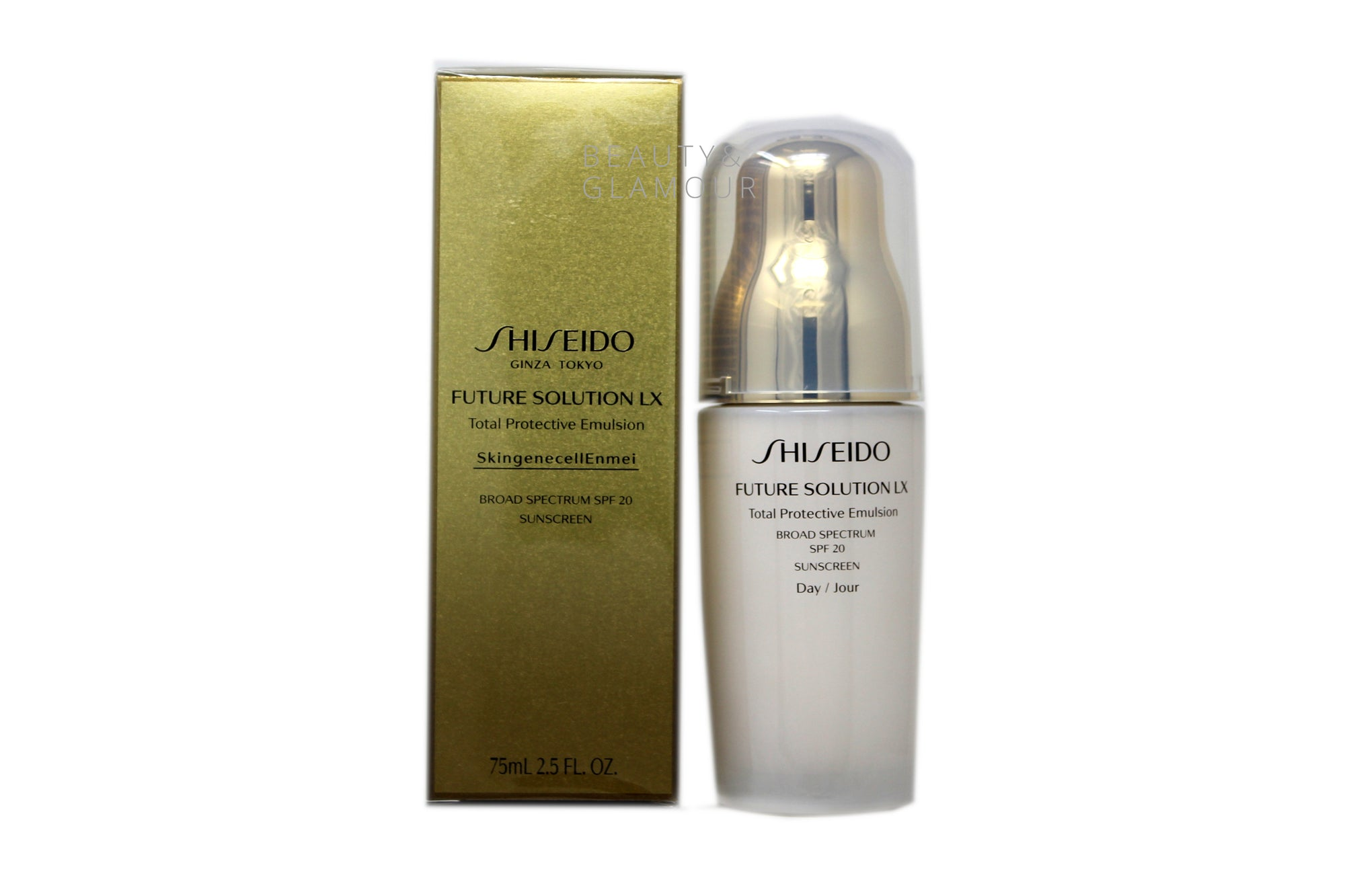 SHISEIDO FUTURE SOLUTION LX TOTAL PROTECTIVE EMULSION SPF 20   SKINGENECELL ENMEI  SUNSCREEN  AVAILABLE SIZE: 75 ML/2.5 FL.OZ.  BENEFITS:  EXCLUSIVE SKINGENECELLENMEI HELPS VISIBLY RESTORE AND PROLONG SKIN'S BEAUTY AND REDUCE THE APPEARANCE OF SIGNS OF AGING.