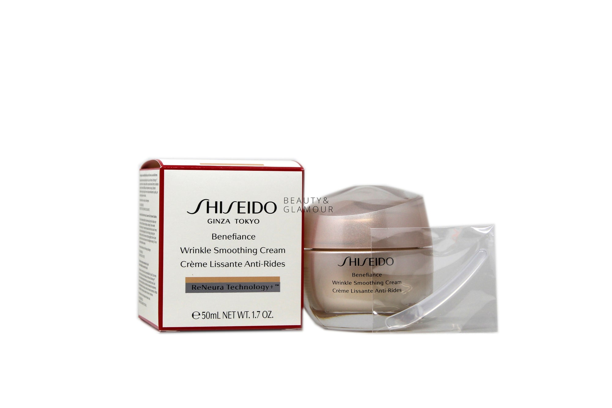 SHISEIDO BENEFIANCE WRINKLE SMOOTHING CREAM  RENEURA TECHNOLOGY+  AVAILABLE SIZE: 50 ML/1.7 OZ.  BENEFITS:  RENEURA TECHNOLOGY+™ FEATURES NATSUME AND ACTIVE RESPONSE POWDER ASHITABA TO HELP IMPROVE SKIN RECEPTIVITY TO AWAKEN AND MAINTAIN THE EFFECTIVENESS OF YOUR TREATMENT OVER TIME.