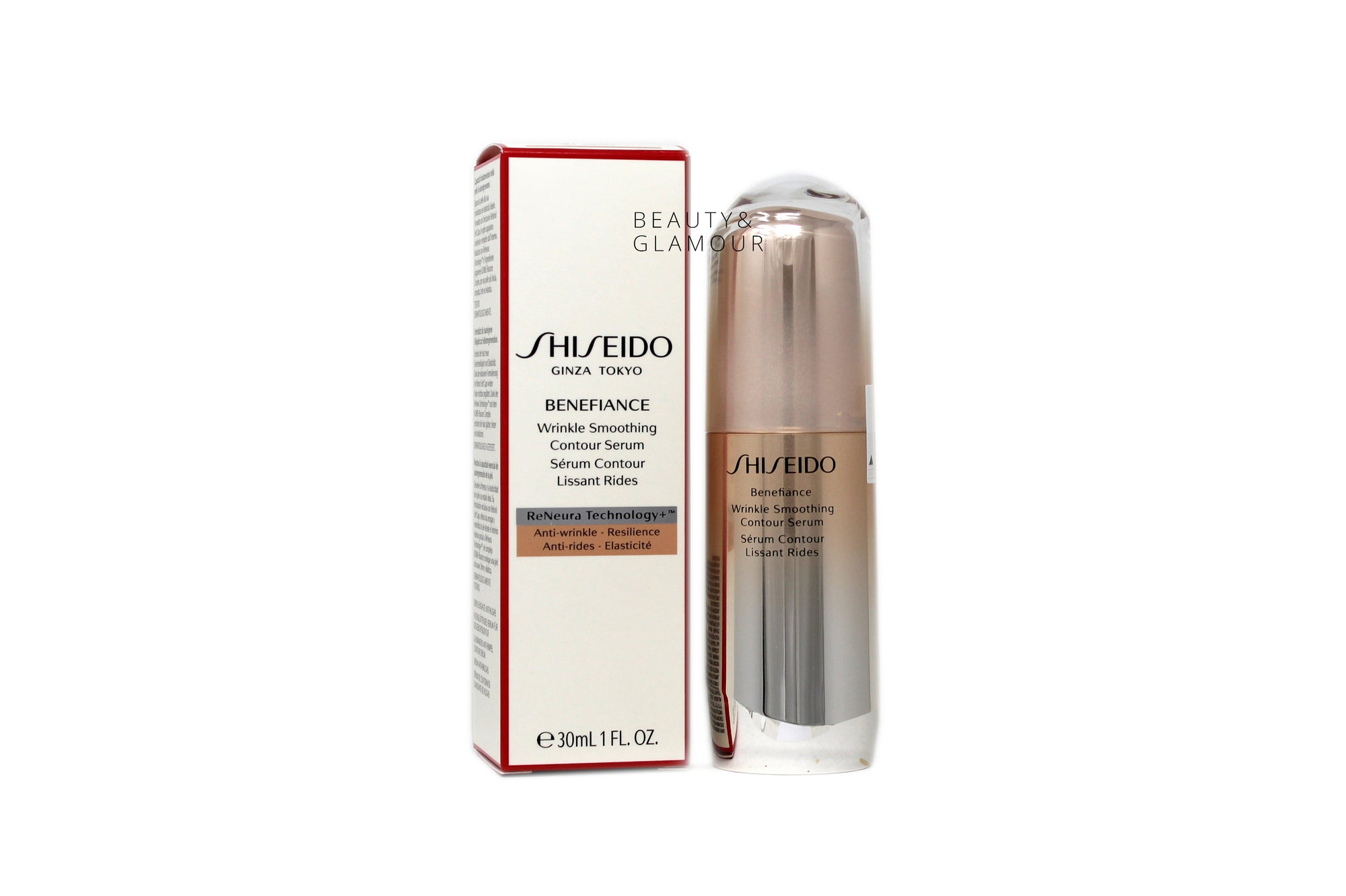 SHISEIDO BENEFIANCE WRINKLE SMOOTHING CONTOUR SERUM  RENEURA TECHNOLOGY+  AVAILABLE SIZE: 30 ML/1 FL.OZ.  BENEFITS:  RENEURA TECHNOLOGY+ FEATURES NATSUME AND ACTIVE RESPONSE POWDER ASHITABA TO HELP IMPROVE SKIN RECEPTIVITY TO AWAKEN AND MAINTAIN THE EFFECTIVENESS OF YOUR TREATMENT OVER TIME. KOMBU-BOUNCE COMPLEX: FORMULATED WITH GREEN, BROWN, AND RED ALGAE WHICH HELP ADDRESS THE CAUSES OF WRINKLE FORMATION AND SERVES AS A NATURAL WRINKLE INNER-FILLER.