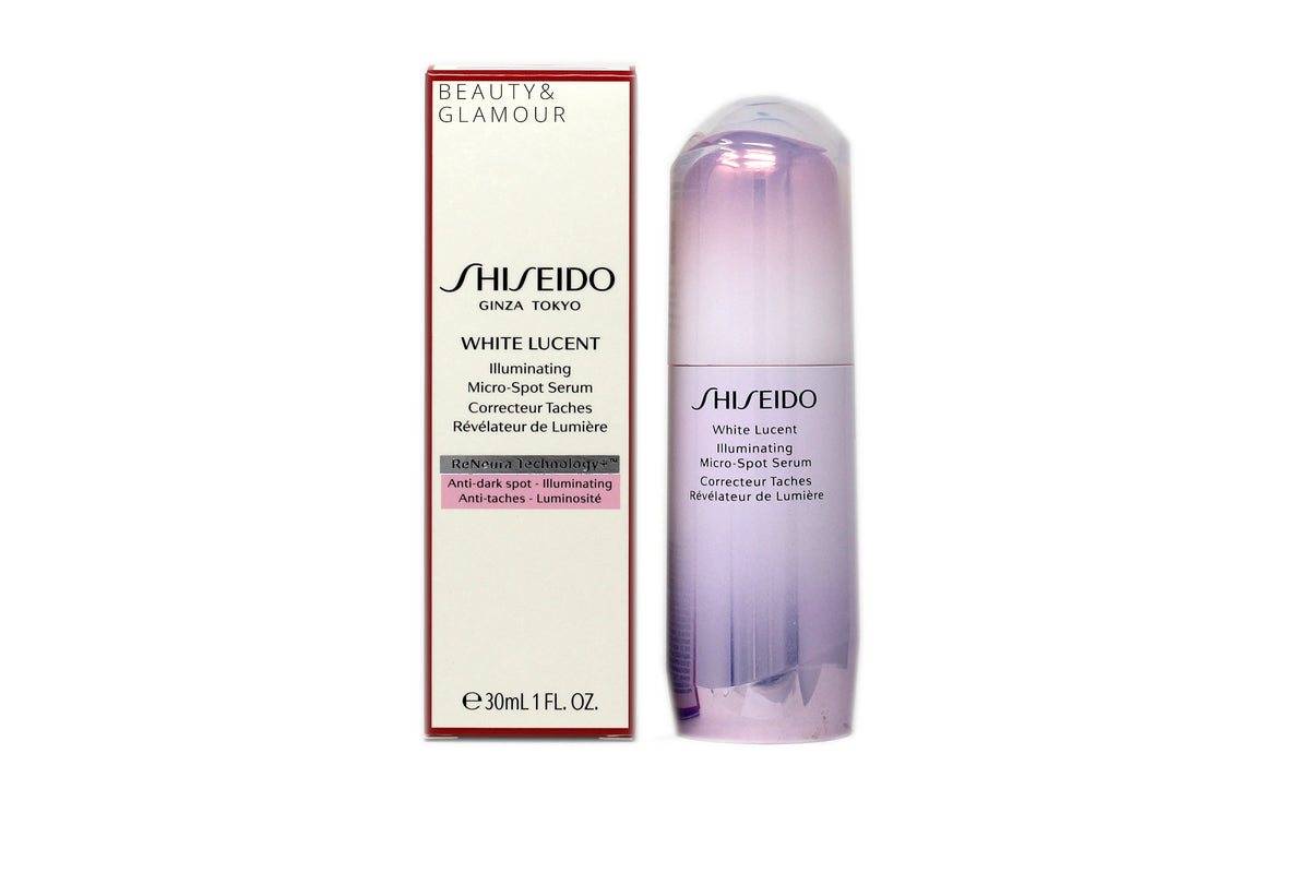 SHISEIDO WHITE LUCENT ILLUMINATING MICRO-SPOT SERUM  RENEURA TECHNOLOGY+  AVAILAVLE SIZE: 30 ML/1 FL.OZ.  BENEFITS:  SAKURA INGREDIENT HELPS IMPROVE THE APPERANCE OF DULLNESS. RENEURA TECHNOLOGY+ FEATURES ACTIVE RESPONSE POWDER ASHITABA TO HELP SKIN SELF-REPAIR DAMAGE.
