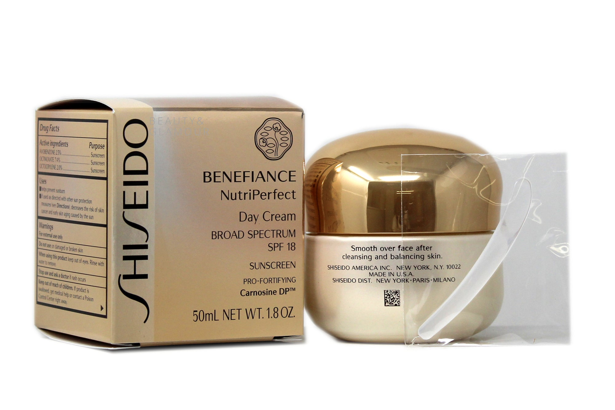 SHISEIDO BENEFIANCE NUTRIPERFECT DAY CREAM  BROAD SPECTRUM SPF 18  SUNSCREEN PRO-FORTIFYING  AVAILABLE SIZE: 50 ML/1.8 OZ.  BENEFITS:  LIGHT-DIFFUSING TECHNOLOGY HELPS MINIMIZE THE APPEARANCE OF AGE SPOTS AND UNEVEN SKIN TONE. FRESH FRAGRANCE OF TEA ROSE ELEMENT.