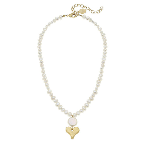 Pearl and Gold Heart Necklace