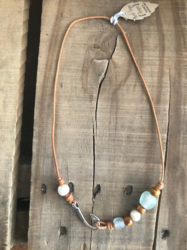 "Mandi Singer 18"" Leather Fishhook Necklace"